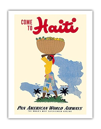 Come to Haiti - Pan American World Airways PAN AM - Vintage World Travel Poster by E. Lafond c.1950s - Fine Art Print - 11in x 14in ()