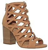 MVE Shoes Women's Open Toe Strappy Back Zipper Chunky Heel, tan nb Size 10