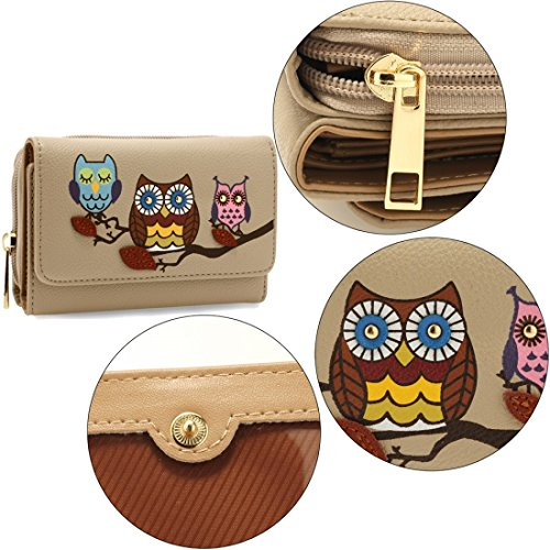 Nude Purse DELIVERY Wallet SAVE 50 UK FREE Design Flap Gorgeous Owl HIadIn