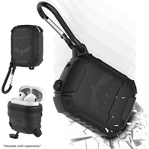 Greatfine for Airpods Protective Case Waterproof Airpods Charging Case Soft Silicone Shockproof Dustproof Airpods Cover Skin Airpods Accessories with Keychain - Black