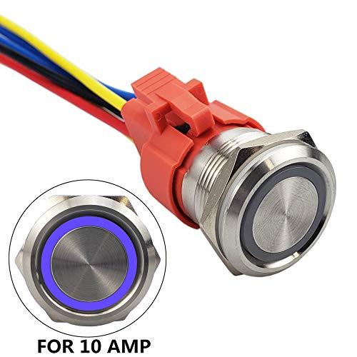 (API-ELE [3 year warranty] All New Design 10 Amp 22mm Latching Push Button Switch 12V Angel Eye LED Waterproof Stainless Steel Round Self-locking 7/8'' 1NO 1NC (10 Amp/Blue Led))