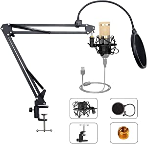 """SupYaque Microphone Boom Arm Stand Mic Suspension Arm Desktop Scissor Stand with Pop Filter,3/8"""" to 5/8"""" Screw Adapter,Metal Shock Mount for Blue Yeti Snowball,Yeti Nano,Shure, and Other Microphones"""