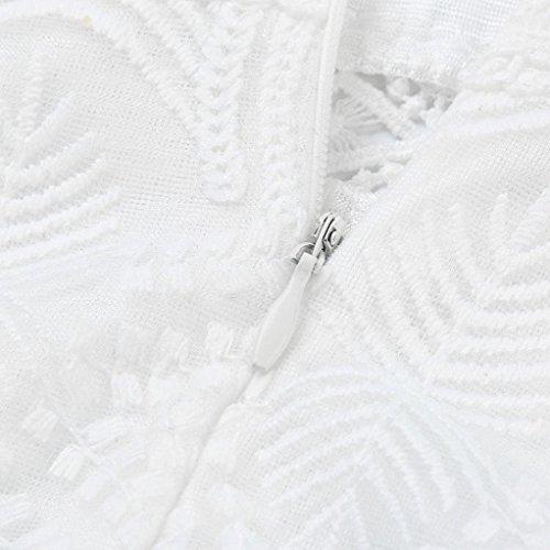 cóctel Encaje mujeres mujer vestido LMMVP Blanco S las manga de de Vestidos casual fiesta Blanco mini larga pzfRpB