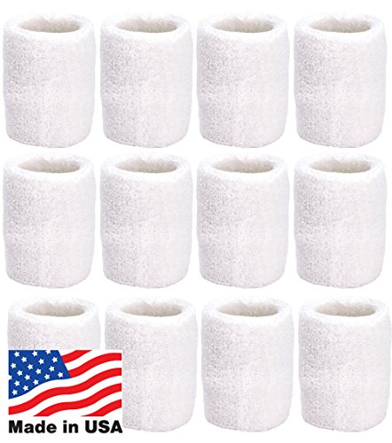 (Unique Sports Wristbands/Sweatbands Pack of 12 (6 Pair) White)