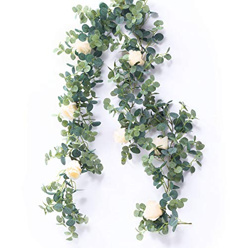 PARTY JOY Artificial Eucalyptus Garland with Champagne Roses Greenery Garland Eucalyptus Leaves Wedding Backdrop Wall Decor (Eucalyptus Garland with Roses)]()