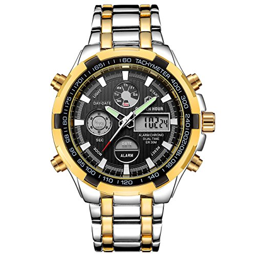 Wrist Watch Solid Two Tone (Affute Luxury Analog Digital Sport Men's Watches, Heavy, Huge, Two Tone Stainless Steel Strap with Chronograph Waterproof Date Alarm, Color: Silver Gold Black)
