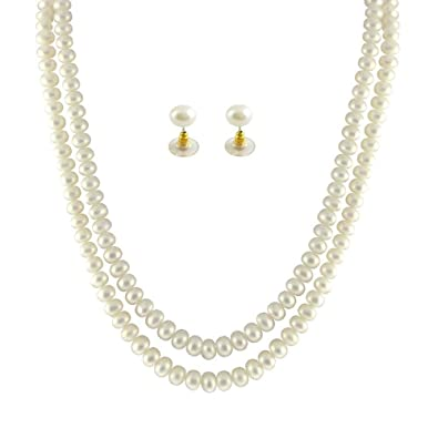 42e6e0ba58d Buy Souk - Two String AAA Real Fresh Water Hyderabadi Pearls Necklace Set  for Women - White Online at Low Prices in India