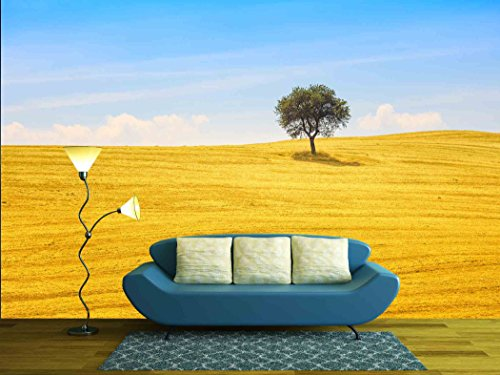 wall26 - Tuscany Country Landscape, Olive Tree and Green Fields Montalcino, Italy, Europe - Removable Wall Mural | Self-adhesive Large Wallpaper - 100x144 inches