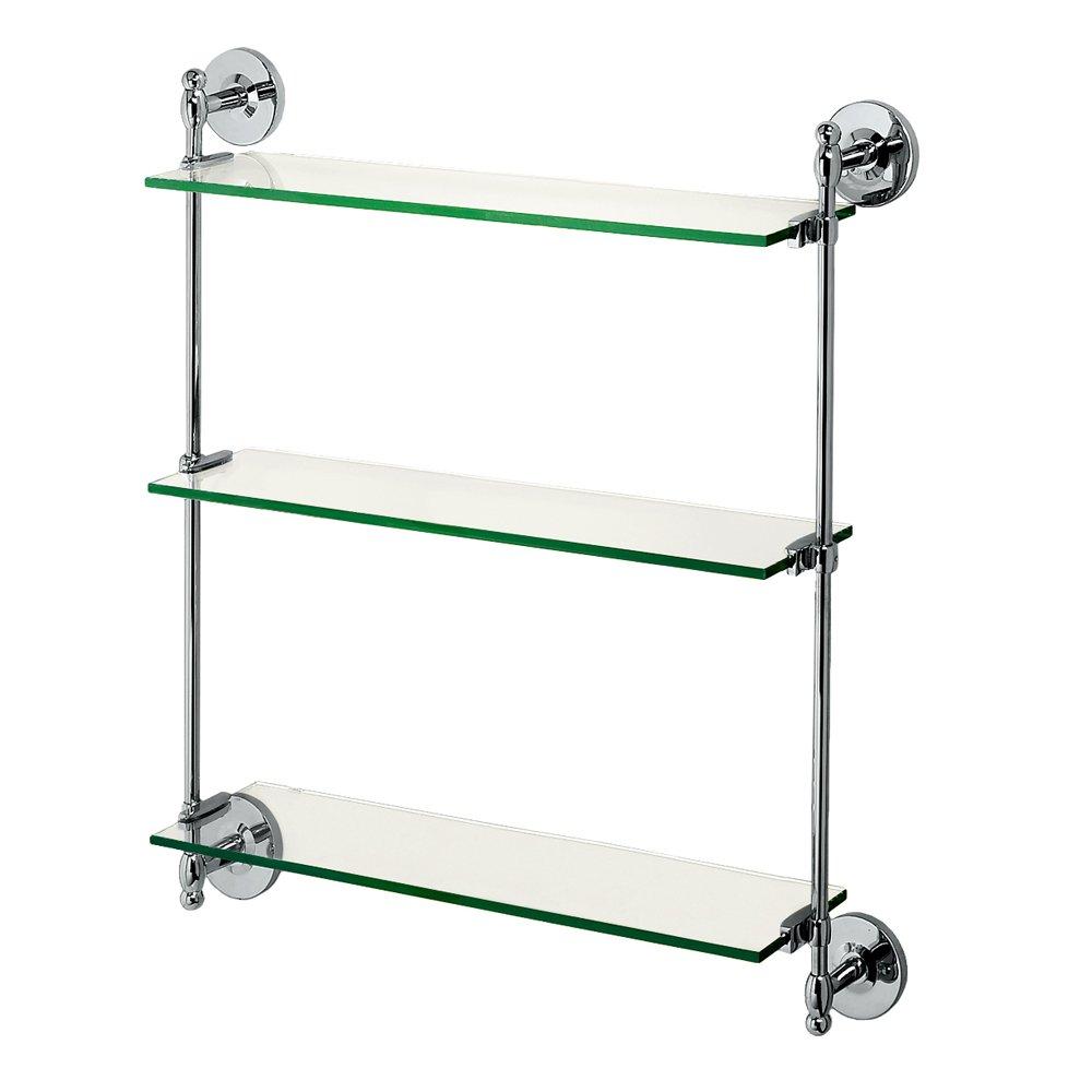 Gatco 1394 Premier 3-Tier Wall Glass Shelf, Chrome Gatco [並行輸入品] B002G9TTKU