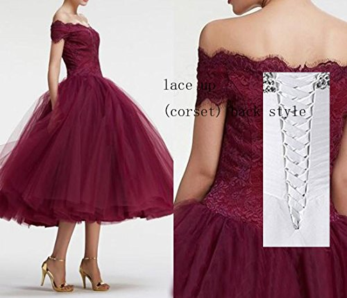 Ball D Tea Dresses L Lace Shoulder Prom Off Ladies Party White Gown Length Bridal Formal Tulle OxqwUgdw