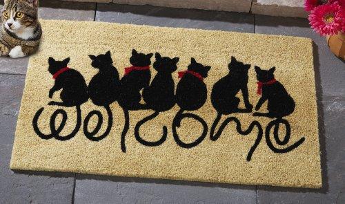 """30"""" Welcome Kitty Black Cat Lover Coco Door Mat Decoration Whimsical Cute Welcoming Guest Front Door Doormat"""
