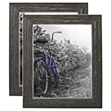 Americanflat 2 Pack - 8x10 Barnwood Rustic Style Picture Frames with Easels - Made for Wall and Tabletop Display