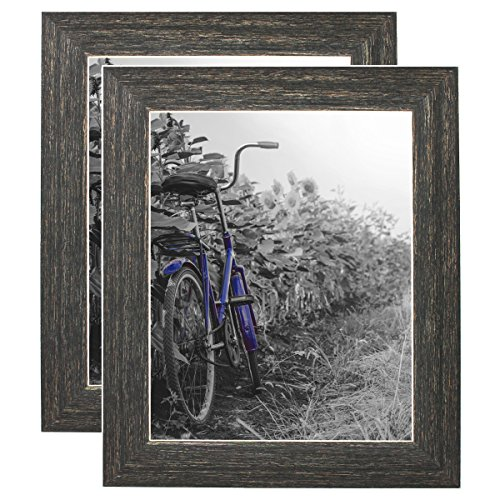 (Americanflat 2 Pack - 8x10 Barnwood Rustic Style Picture Frames with Easels - Made for Wall and Tabletop Display)