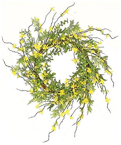 Ella and Lulu PM1666-Y Wild Forsythia and Twig Wreath, One Size, Yellow - Wholesale Twig Wreaths