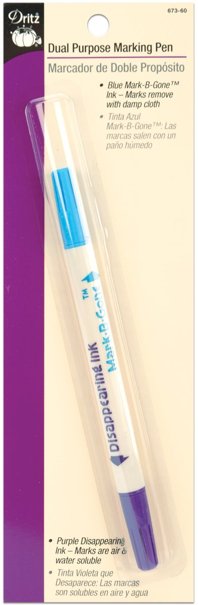 Dritz Ink Dual Purpose Marking Pen-Blue and Purple water soluble and air erasable