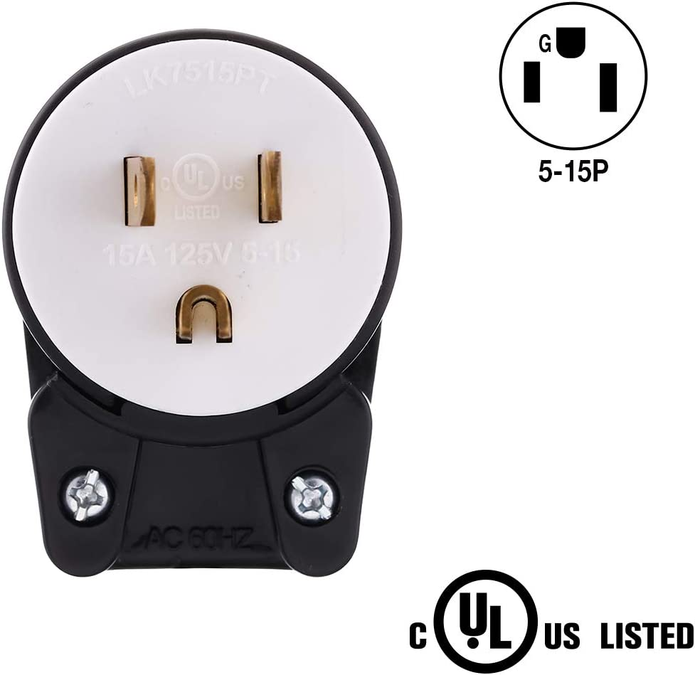 Black-White 125 Volt 15amp Straight Blade Easy Assembly Male Plug DIY 12 Directions Adjustable AC Connector Grounding Type//UL listed Miady Right Angle Nema 5-15P AC Plug Replacement