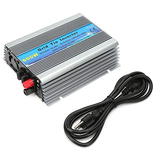 Solar Wechselrichter,Solar Inverter 600W Grid Tie Pure Sinus Haushalts Solar Wechselrichter 22-60VDC,50 / 60Hz(AC 100-120V)