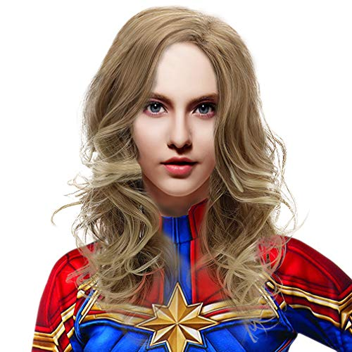 Long Blonde Cosplay Captain Marvel Wig Women Girls Synthetic Wavy Anime Hair Wigs for Party Costume Halloween -