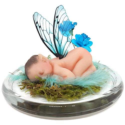 Bebe duende con alitas en tonos azules