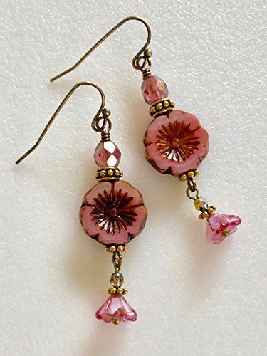 Pink Flower Earrings, Czech Glass Hawaiian Flower, Fuchsia Pink Bellflower, Premium PIcasso Glass, Flower Earrings, Bridal, Mother's Day.