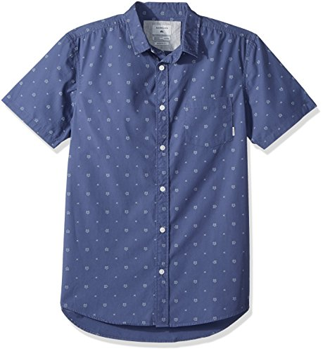 Shirt Up Quiksilver Button - Quiksilver Men's Short Sleeve, Vintage Indigo KAMANOA, S
