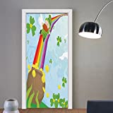 Gzhihine custom made 3d door stickers St. Patricks Day Decor Wood Design with Shamrock Lucky Clovers Pot of Gold Coins and Horse Shoe Fern Green For Room Decor 30x79
