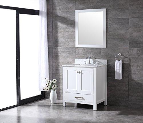 All-Wood Diamond White Shaker Vanity - Complete (30-inch, White Carrara Marble Top) ()