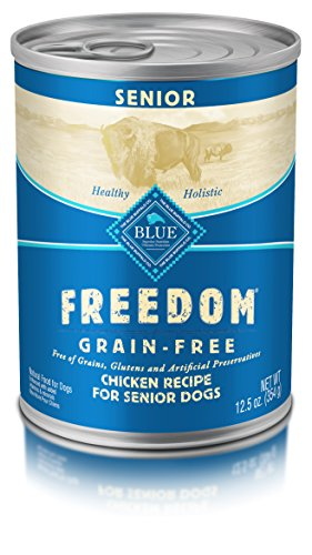 Blue Freedom Senior Grain Free Chicken Wet Dog Food 12.5Oz (Pack Of 12) (Best Canned Dog Food For Senior Dogs)
