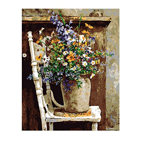 Arich DIY Digital Oil Painting on Canvas Paint by Number Kit Acrylic Home Deco--Retro Vase