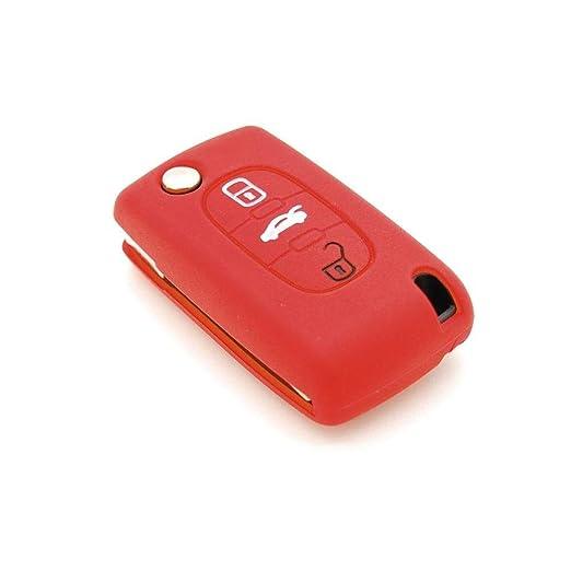 Funda de llave de silicona para Peugeot 207 307 308 407 3 botones