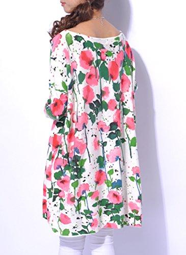 Mujer ELLAZHU Baggy flor imprimir Knit Pullover vestido talla única sz43 blanco