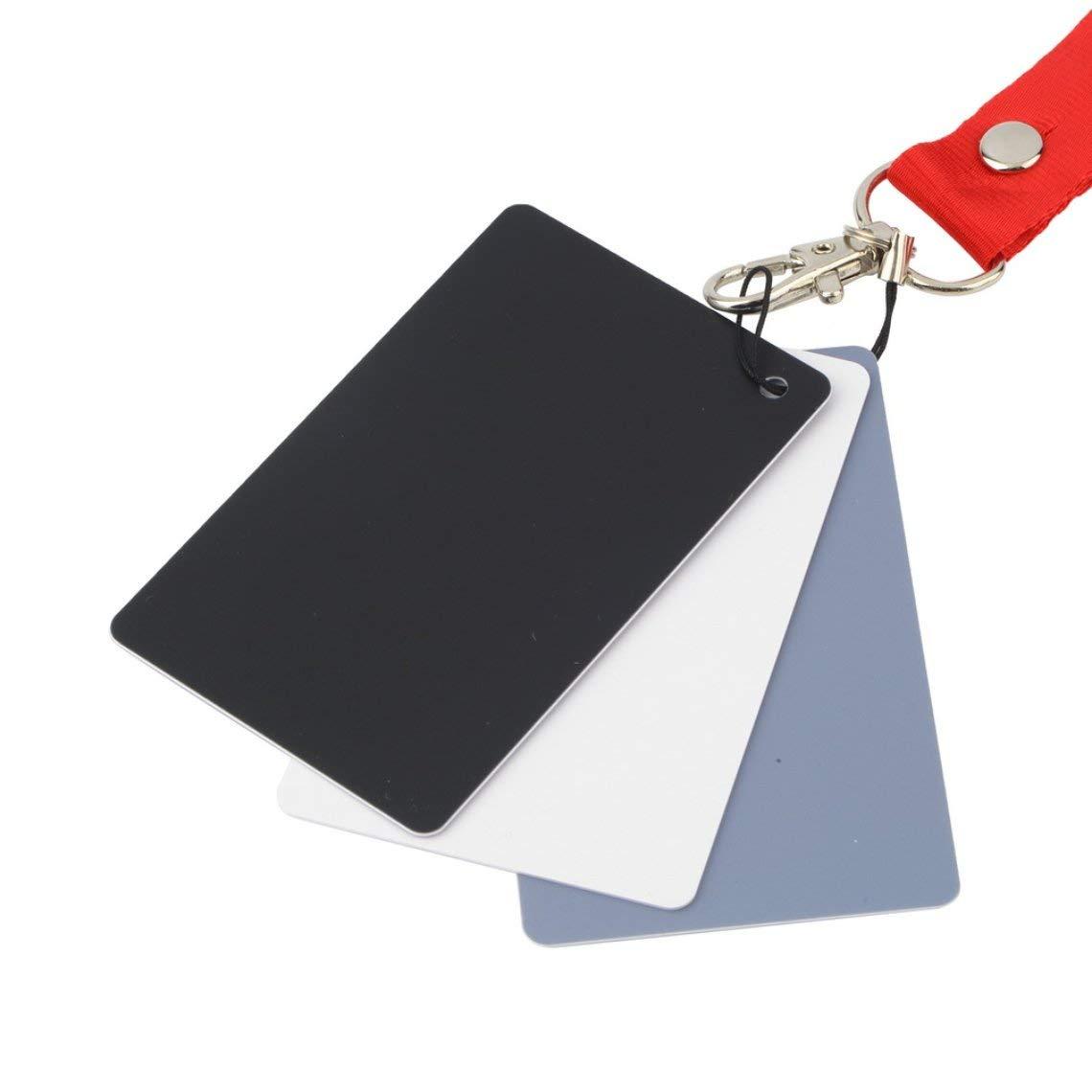 3 in 1 Digital White Black Grey Balance Cards Set 18/% Gray Exposure Card
