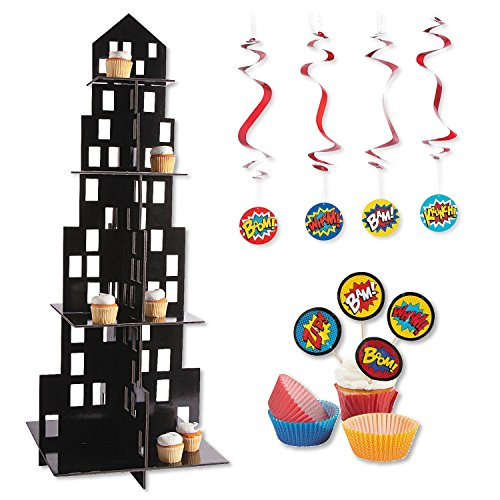 Skyscraper Cityscape Cupcake Stand Display Kit with Toppers, Hanging Decorations