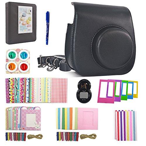 Shaveh 11 in 1 Camera Accessories for Fujifilm Instax Mini 7/8 or Mini 9 Include Camera Case/Album/Selfie Lens/Colored Filters/Wall Hang Frames/Film Frames/Border Stickers/Corner Stickers/Pen (Black)