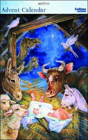 Advent Calendar (WDM9981) - Baby Jesus - Glitter Varnished Woodmansterne