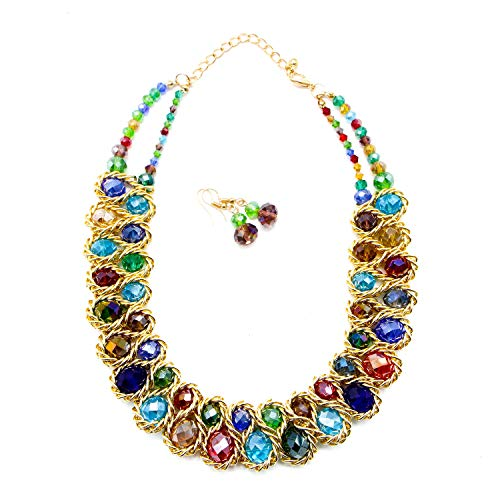 JETEHO Strand Necklace Golden Chains Chunky Statement Necklace Multicolored Collare Choker Statement Necklace and Earrings Set for Women