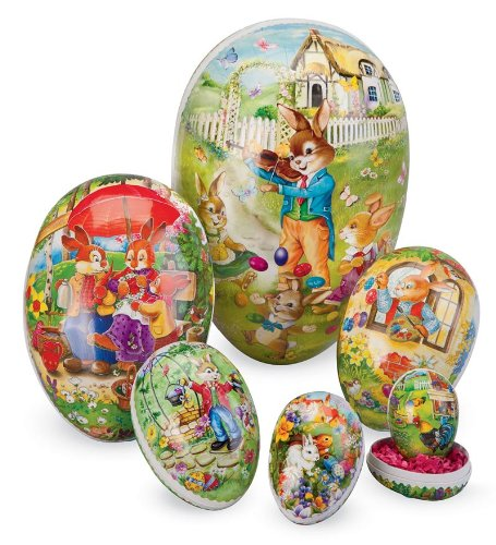 Easter Eggs Vintage - Set of 6 Nesting Decoupage Easter Eggs