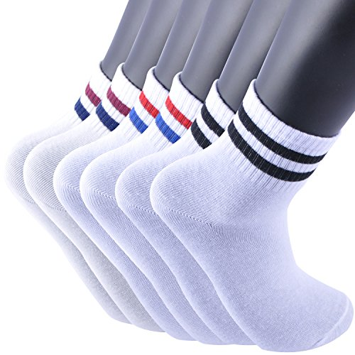 Areke Women Stripe Colorful Patterned Mid Calf Crew Socks, Cotton Comfort Casual Tube Dress Soxs Color 6Pack White Assorted Size US Shoe Size 5-10