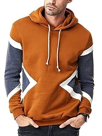 abe04bccb Seven Rocks Rich Cotton Men's Panelled Hoodie Sweatshirt Jacket (Medium)  Brown