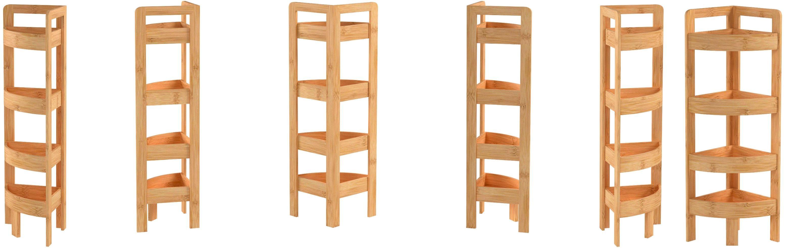 31 5 4 Tier Bamboo Corner Storage Shelf By Trademark Innovations Amazon Co Uk Kitchen Home