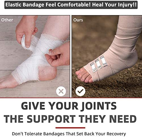 "FRESINIDER Elastic Bandage Wrap 4 Pack(2 X 3"" + 2 X 4"" Wide Rolls) + 24 Clips 