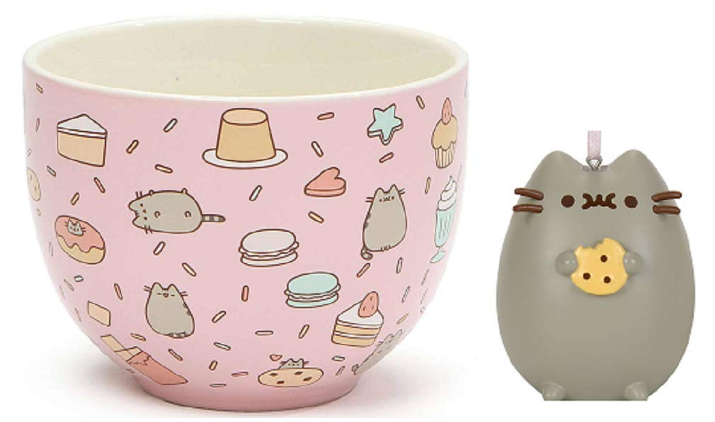 Pusheen Sweet Treats Snack Bowl bundle with Pusheen I Love Cookies Ornament