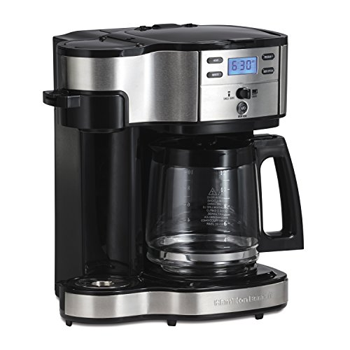 Black Line Glass - Hamilton Beach (49980A) Single Serve Coffee Maker and Coffee Pot Maker, Programmable, Stainless Steel