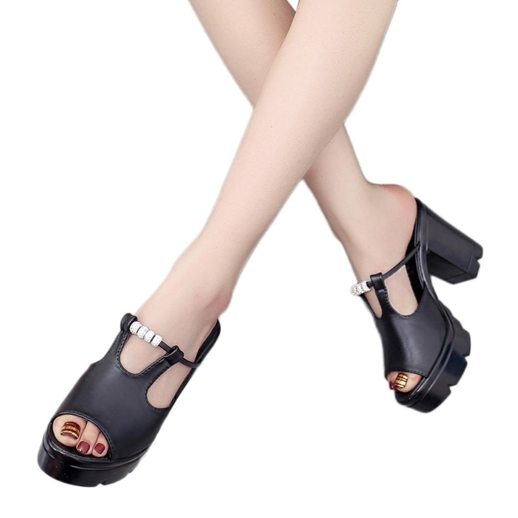 AIMTOPPY HOT Sale, Fashion Lady Crystal Slope with Open Toe Rough Platform Sandals (US:5, Black)