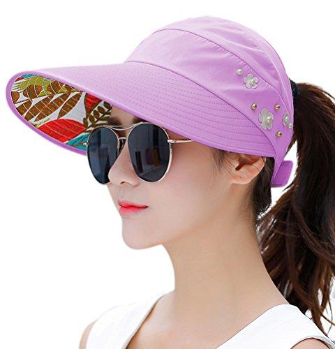 HINDAWI Sun Hats for Women Wide Brim Sun Hat UV Protection Visor Floppy Summer Packable Caps Light Purple ()