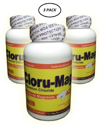 Cloru-Mag Plus - 3 Pack - Magnesium Chloride Tablets (Cloruro De Magnesio)
