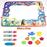 YABAA Aqua Doodle Mat Drawing- A Unique New Design for The Smurfs Water Drawing Mat-Extra Large Aqua Educational Mat- Smurfs Toys -Birthday Gifts For Kids. 4 Magic Pens & 4 Clips & 8 Drawing Template