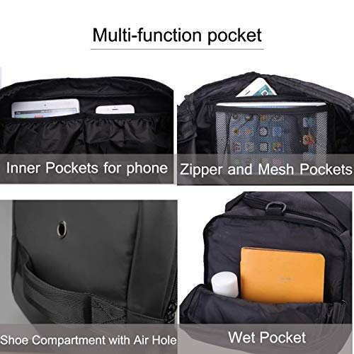 Gym Bag Backpack Waterproof Duffle Bags Travel Weekender Duffel Bag for Men Women Overnight Bag with Shoes Compartment Green