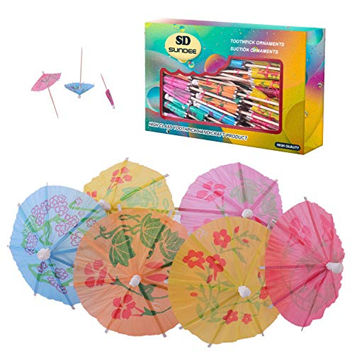 Tropical Drink Umbrella Picks, 4 Inch Paper Umbrella Parasol Cocktail Picks for Drinks and Party - Pack of ()