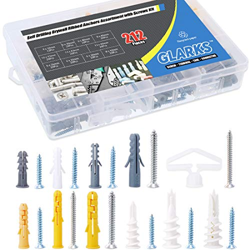 Glarks 212Pcs Phillips Flat Head Self Tapping Screws and Ribbed Anchors Assortment Screws Kit ()
